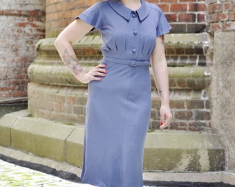 30s day dress in cornflower blue with collar and buttons, size US 4 / 30s style dress / vintage style dress / swing dance dress