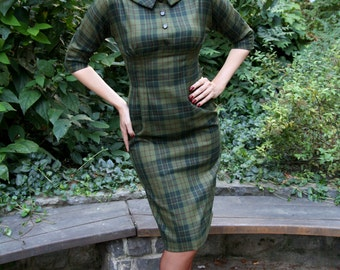 50s plaid dress in green wool, sizes US 0 to 16  / wiggle dress / winter dress / vintage style dress / made to order