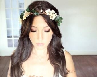 Eucalyptus Wedding Flower Crown, Autumn Wedding, Fall,  Bridal Headpiece, headpiece, Flower Head Wreath, Rustic Wedding, Floral Crown