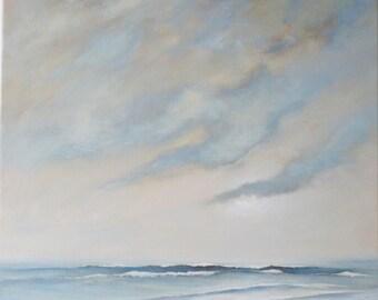 Original painting coastal beach scene summer at the ocean edge whispering sea shore tide