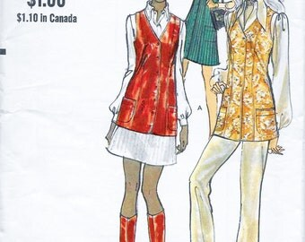 Vogue 7855 Women's 70s Tunic or Vest Sewing Pattern Bust 36