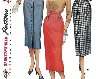 Simplicity 1690 Misses' 50s Pencil Skirt Sewing Pattern Waist 24 1/2