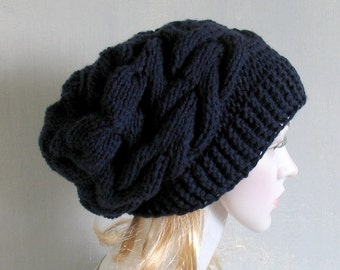 Slouchy Knit Hat With Flower Womens Knit Hat Knit Hat with  Flower Winter  Hat Slouch Beanie for Girls  Knit Hat Knit Accessories