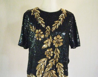 Gold Floral Sequin Short Sleeve Top Glam
