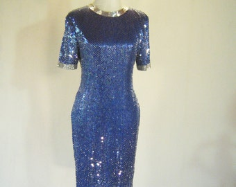 Iridescent Blue Sequin Rainbow Fish Evening Dress