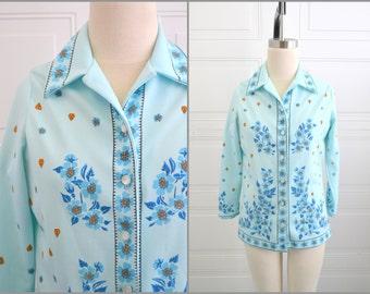1970s Stylecraft Blue Floral Polyester Shirt