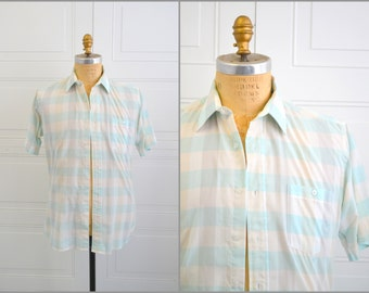 1980s Lanvin Aqua Windowpane Plaid Men's Shirt