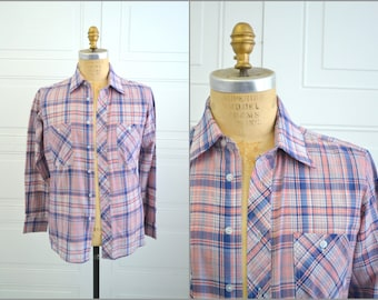 1970s Chess Kings Plaid Men's Western Shirt