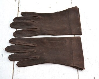 1940s Deep Brown Gloves, Table Cut, Size 7