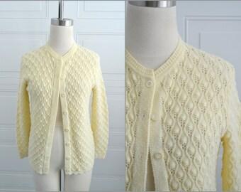 1960s British Vogue Cream Cardigan Sweater