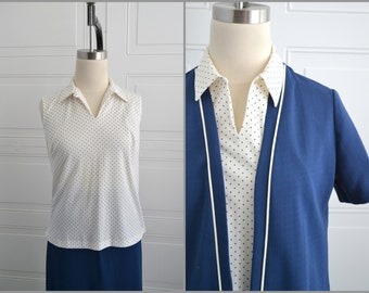 1970s Sears Navy and White 3 Piece Skirt Set