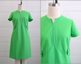 1970s Kelly Green A-line Dress