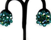 Dazzling Green AB Crystal Cluster Earrings, 1950s
