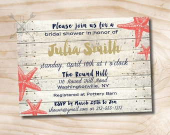 Navy and Coral Starfish White Wash Beach Wood Shower Invitation - Printable digital file or printed invitations