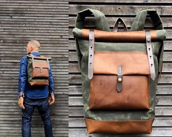 Waxed canvas backpack with roll up top and oiled leather bottem COLLECTION UNISEX