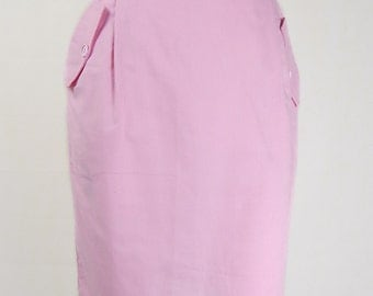 Original Vintage 1960s Pink Button Back Skirt UK Size 8