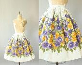 Vintage 50s Skirt/ 1950s Cotton Skirt/ Purple & Orange Floral Cotton Highwaisted Circle Skirt S