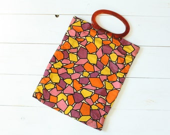 Vintage 60s Purse/ 1960s Fabric Purse/ Colorful Geometric Print Purse w/ Lucite Handle