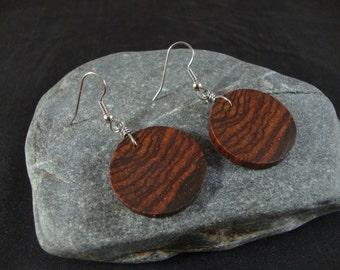 Wooden Dangle Earrings, Round Dark Wood, Cocobolo wood, Eco Friendly, Natural Wood Earrings, Womens Wood Earrings, Womens Wood Jewelry