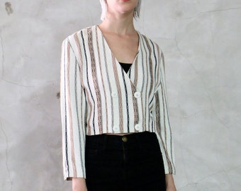cropped shirt jacket, 80s vintage minimal striped woven cropped shirt- bolero- blazer- jacket, chic, natural, womens s/m