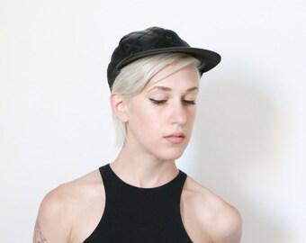 hat, 90s black satin quilted hat w/ bill, hats, cap, caps womens ladies