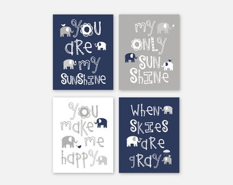 Elephant Art Prints, Navy Nursery Decor You are my sunshine Baby Boy Navy Blue and Grey Nursery Wall Art Set of four PRINTS