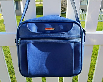 Vintage Samsonite Concord Carry-On Bag - Near MINT Condition - Vegan Friendly - Cornflower Blue Faux Leather Messenger Bag - Two Available