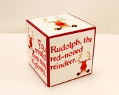 Rudolph Wooden Block, Rudolph the Red Nosed Reindeer, Christmas Song Lyrics, Holiday Decoration