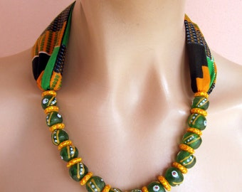 Orange and Green necklace - African Scarf Necklace Recycle Glass Beads