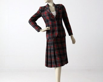 vintage 70s Pendleton skirt suit, wool plaid skirt and blazer set