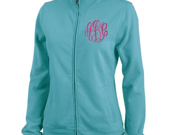 Teal Monogram Onyx Sweatshirt Fleece Jacket