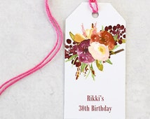 Favor Tag, Fall Floral Gift Tag, Bridal Shower, Birthday Party, Personalized Wedding Favor Tags - Set of 25 (MDGT-CTC1)