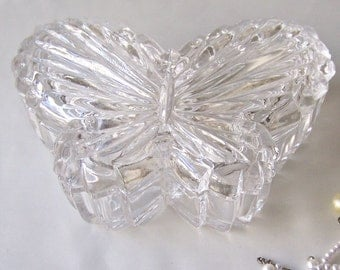Vintage Glass Butterfly Jewelry Box Vanity Decor Dressing Room Gift For Mom Vintage 1980s