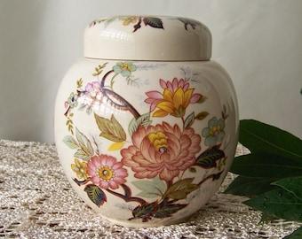 Vintage Ginger Jar Staffordshire England Blossom Floral Pattern Tea Jar Kitchen Container Vintage 1940s