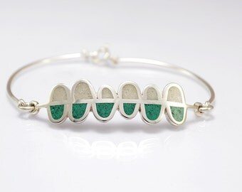 Sterling Silver Bracelet, White and Green Ferns, Contemporary Design, Modern Jewelry