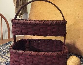 Double Decker Needlework Basket, 2 Layer Basket with Handle, Primitive Rug Hooking, Farmhouse Decor, Rustic Home