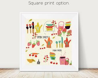 kitchen art, mid century kitchen, whimsical kitchen, farm fresh, food art, kitchen print, kitchen illustration, strawberries, cherries, art