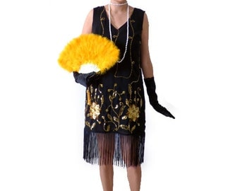 Art Nouveau Great Gatsby Dress ,Flapper Dress, Roaring 20s,Cocktail, Flapper Costume,1920s Dress, Gold Sequins,Black Tassel Fringes