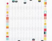 Wall Planner 2017 Calendar Office Organiser Mid Century Modern Retro Pattern