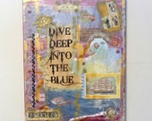 Under The Sea Collage, Ocean Mixed Media Artwork, Original 16 x 20 Inch Nautical Painting, Dive Deep