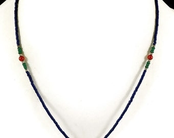 Necklace Carnelian and Blue Glass Beads Afghanistan 17 Inch 105477