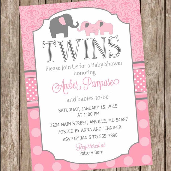 Pink Twin Girl Baby Shower Invitation twin girl elephants twins