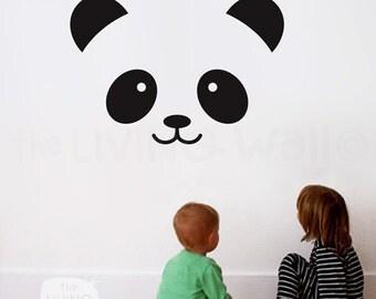 Panda Face Nursery Wall Decal, Panda Decals for Baby Room, Bear Face Vinyl Stickers Wall Art, Australian made