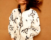 KEITH HARING style pop WILD faux fur lined jacket coat