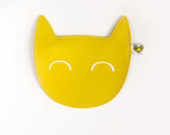 Kitty coin purse in lemon yellow