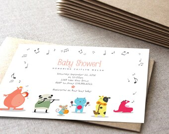 funny animals shower invitation | Music theme | cute monsters | Printable card | DIY shower card