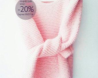 Enter 20OFF Pale pink long sleeved sharp shoulder hand knit womens sweater light pink blush  summer fashion for her modern minimalist gift