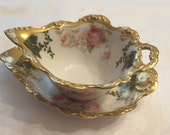 Limoges Sauce/Gravy Bowl and Underplate; Hand Painted; circa 1890-1920s