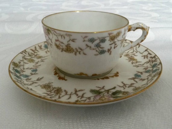 Limoges Tea Cup and Saucer; Demi Set; 19th Century; Hand Painted by Gerald, Dufraisseix and Morel circa 1882-1890   DR