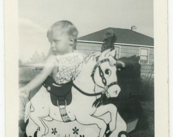 "Vintage Photo ""Rocking Toddler"" Children Horse Toy Snapshot Old Antique Black & White Photograph Found Photo Paper Ephemera Vernacular - 119"